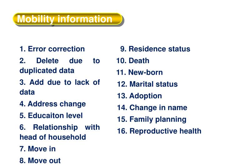 Mobility information