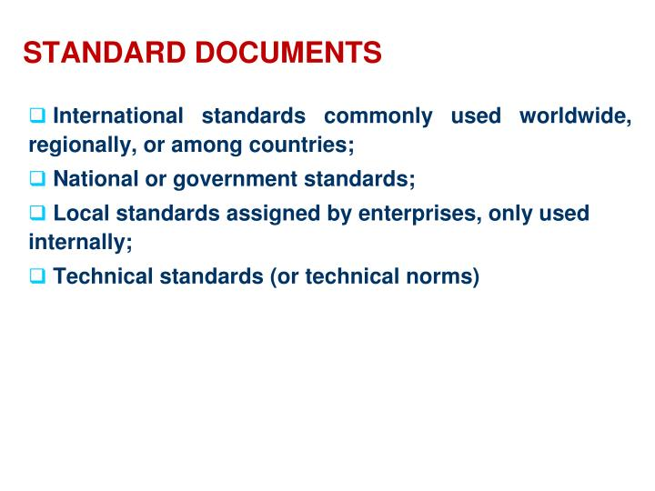 Standard documents
