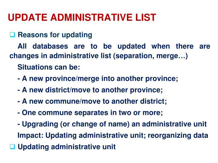 UPDATE ADMINISTRATIVE LIST