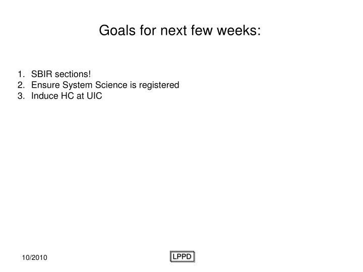 Goals for next few weeks: