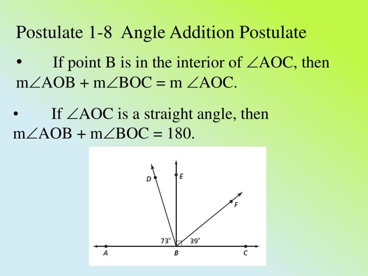 Postulate 1-8  Angle Addition Postulate