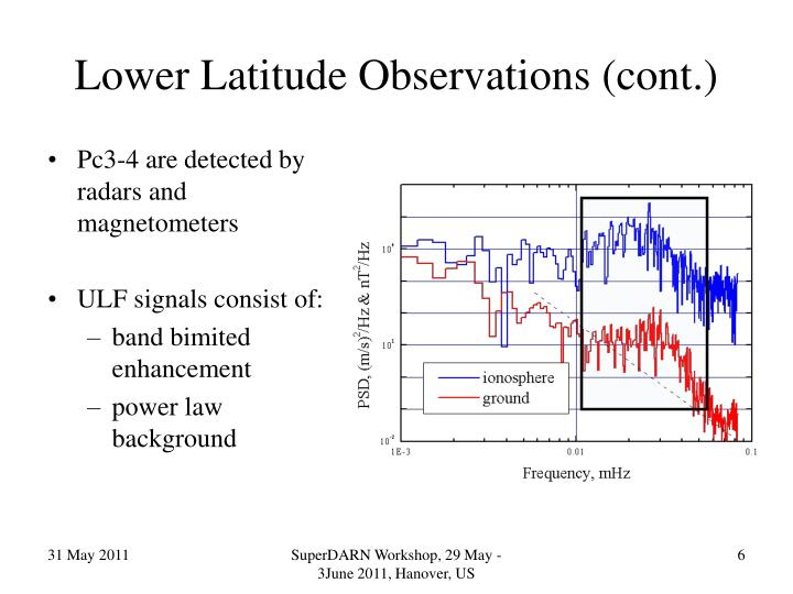 Lower Latitude Observations (cont.)