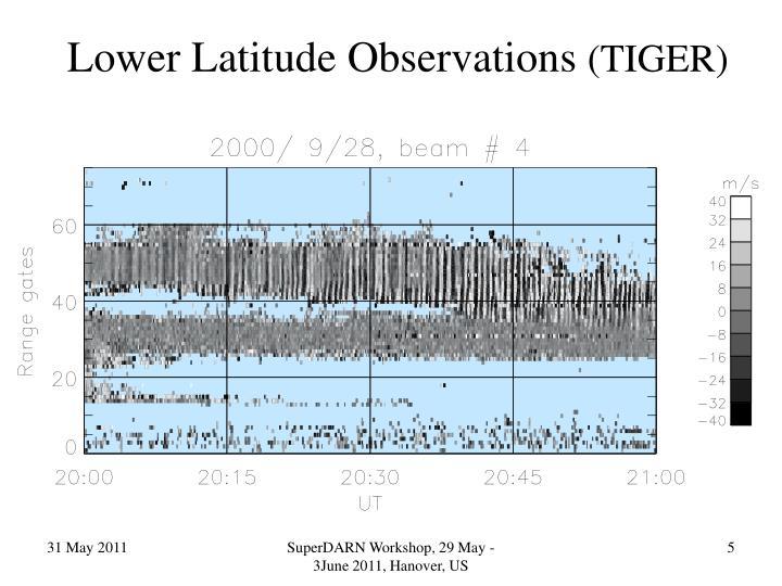 Lower Latitude Observations
