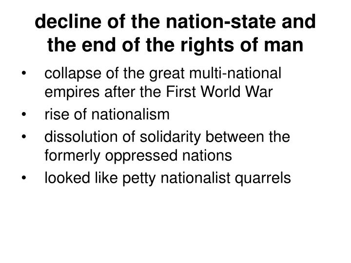 End of the nation state thesis