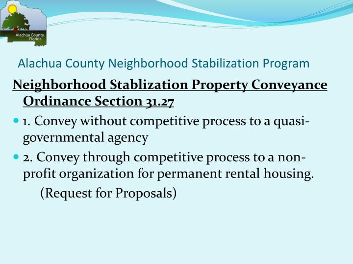 Alachua County Neighborhood Stabilization Program