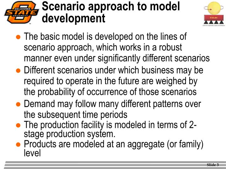 Scenario approach to model development