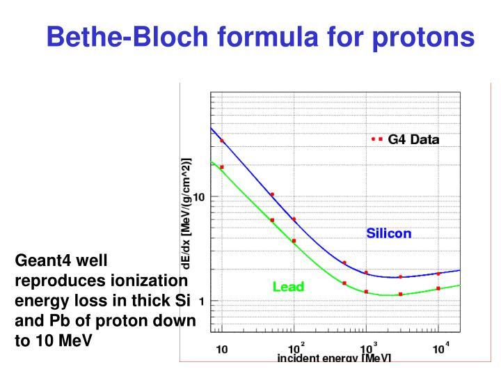 Bethe-Bloch formula for protons