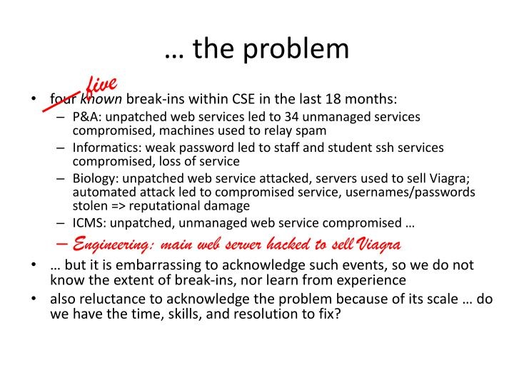 … the problem