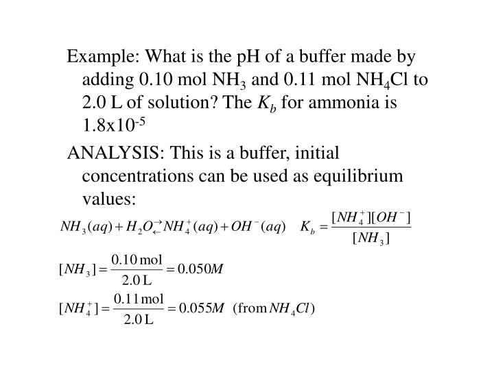 Example: What is the pH of a buffer made by adding 0.10 mol NH