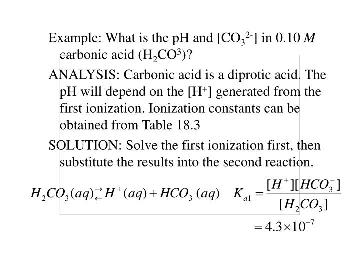 Example: What is the pH and [CO