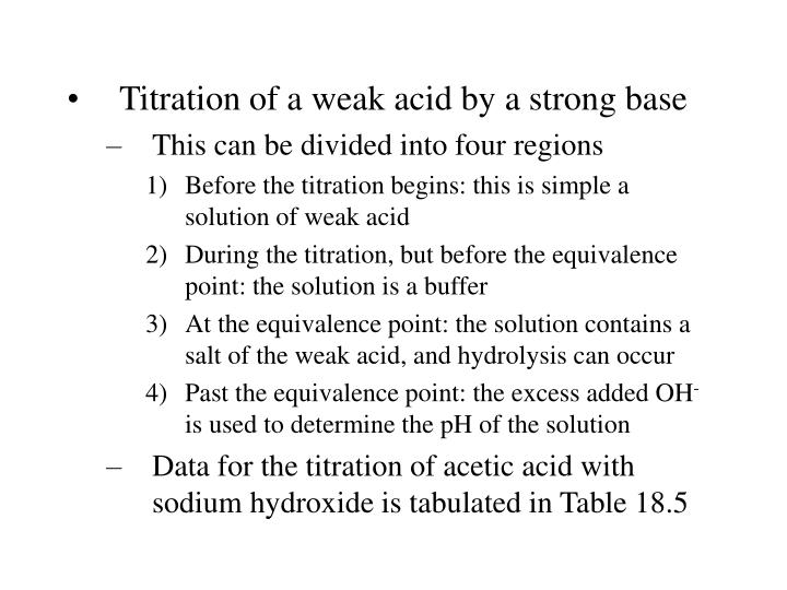 Titration of a weak acid by a strong base