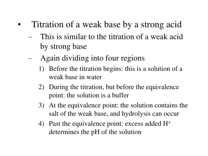 Titration of a weak base by a strong acid