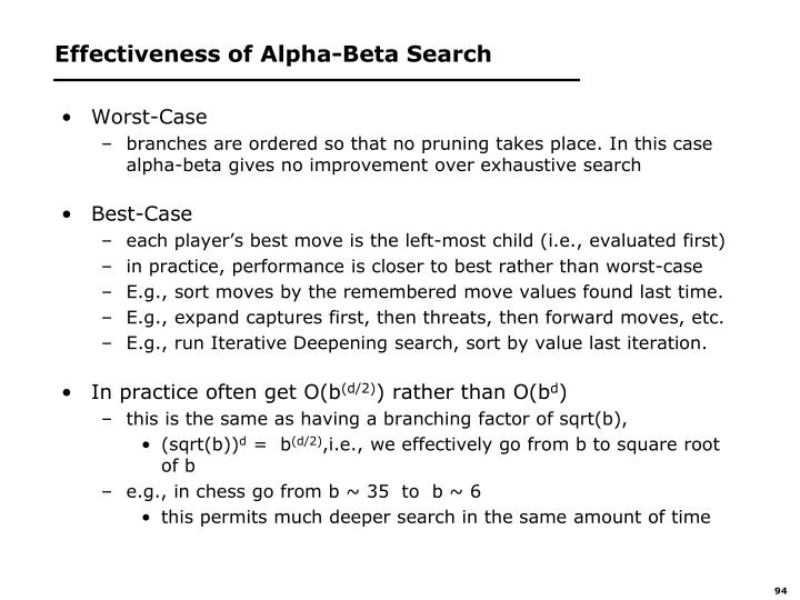 Effectiveness of Alpha-Beta Search