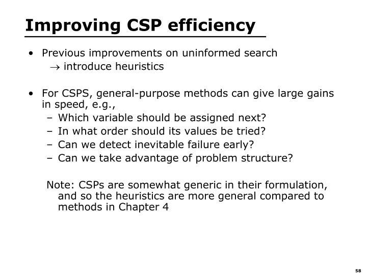 Improving CSP efficiency