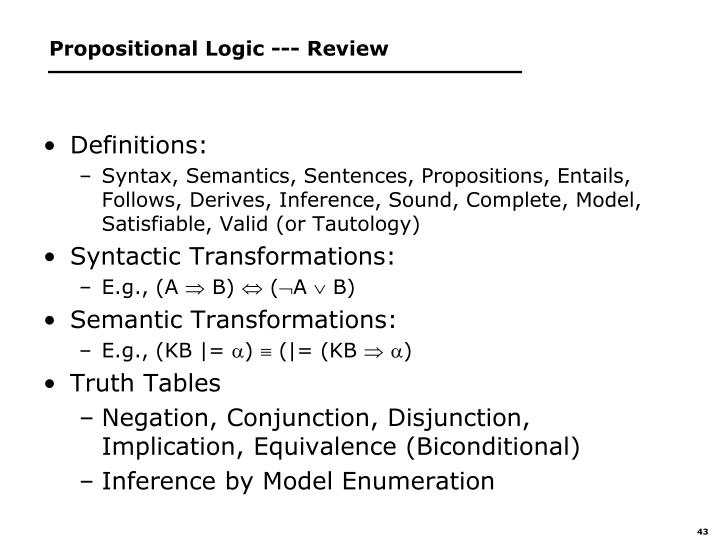Propositional Logic --- Review