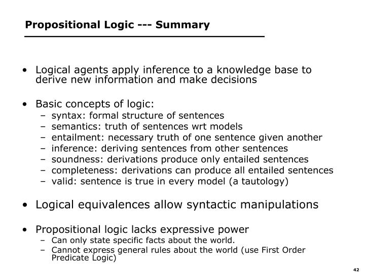 Propositional Logic --- Summary