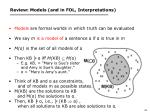 review models and in fol interpretations