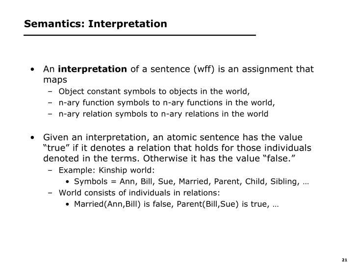 Semantics: Interpretation