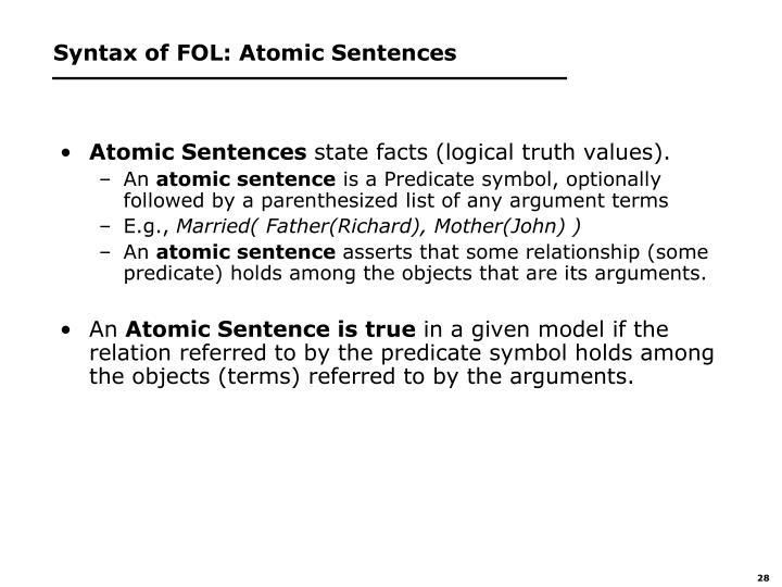 Syntax of FOL: Atomic Sentences