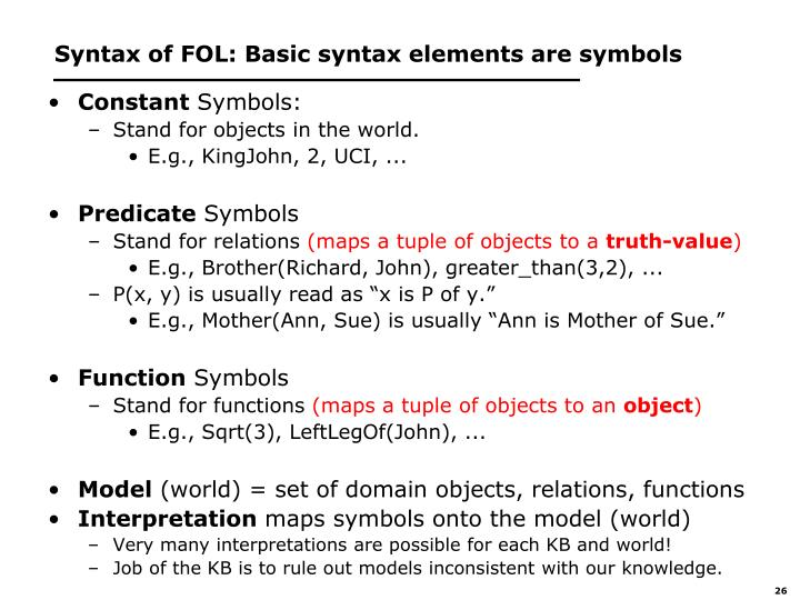Syntax of FOL: Basic syntax elements are symbols