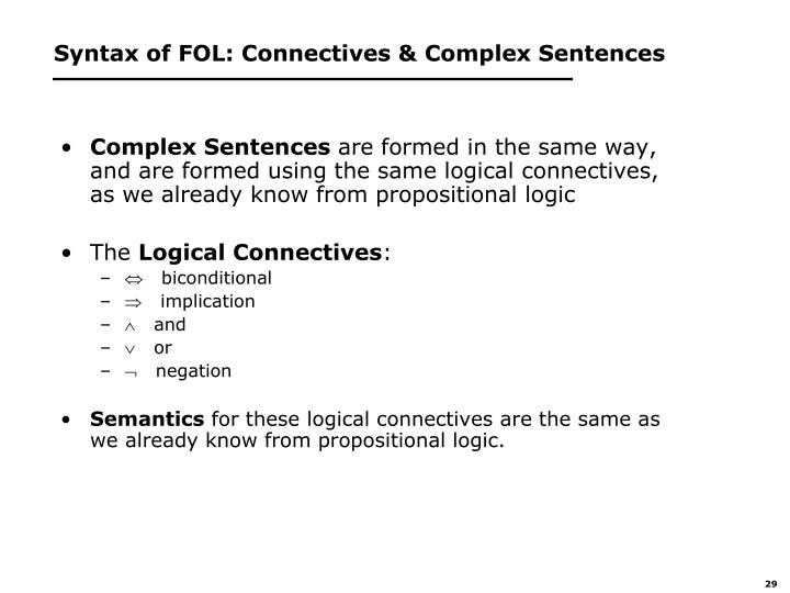 Syntax of FOL: Connectives & Complex Sentences