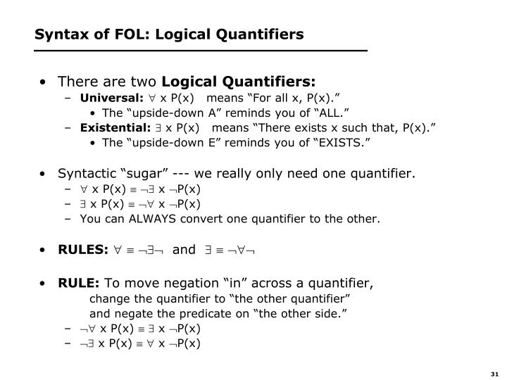 Syntax of FOL: Logical Quantifiers
