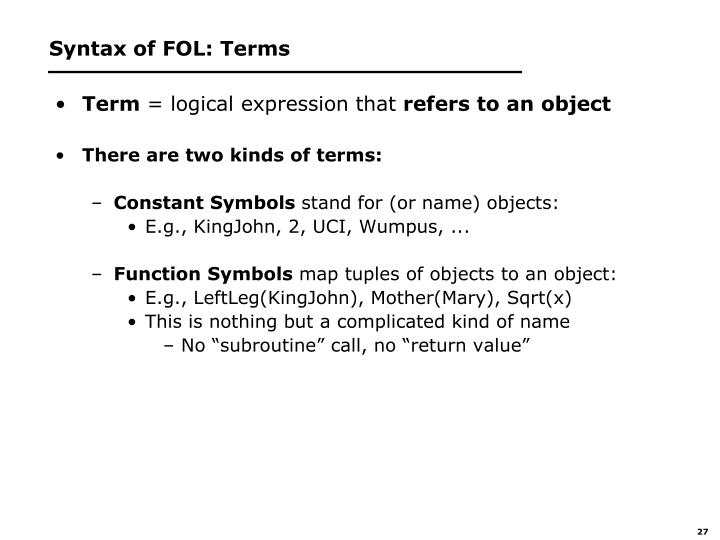 Syntax of FOL: Terms