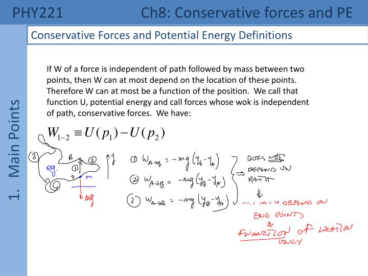 Phy221 ch8 conservative forces and pe1