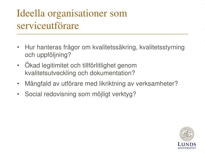 Ideella organisationer som serviceutförare
