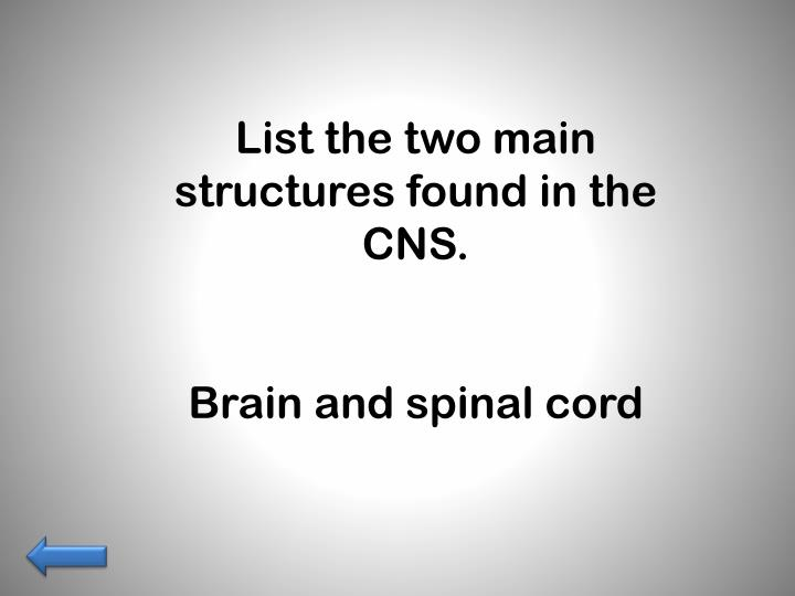 List the two main structures found in the CNS.