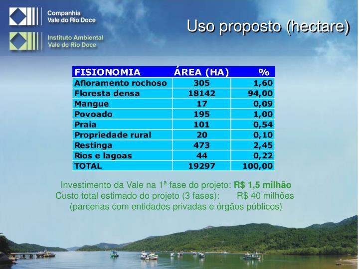 Uso proposto (hectare)