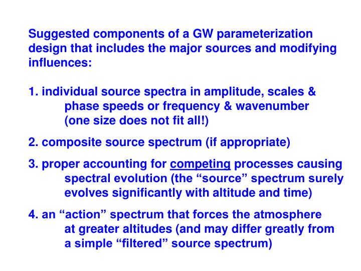 Suggested components of a GW parameterization
