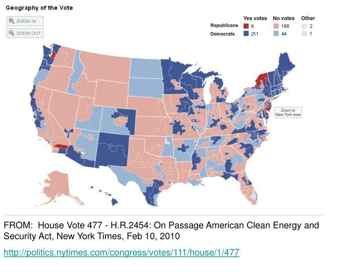 FROM:  House Vote 477 - H.R.2454: On Passage American Clean Energy and Security Act, New York Times, Feb 10, 2010