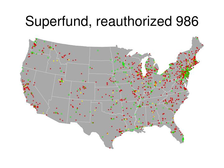 Superfund, reauthorized 986