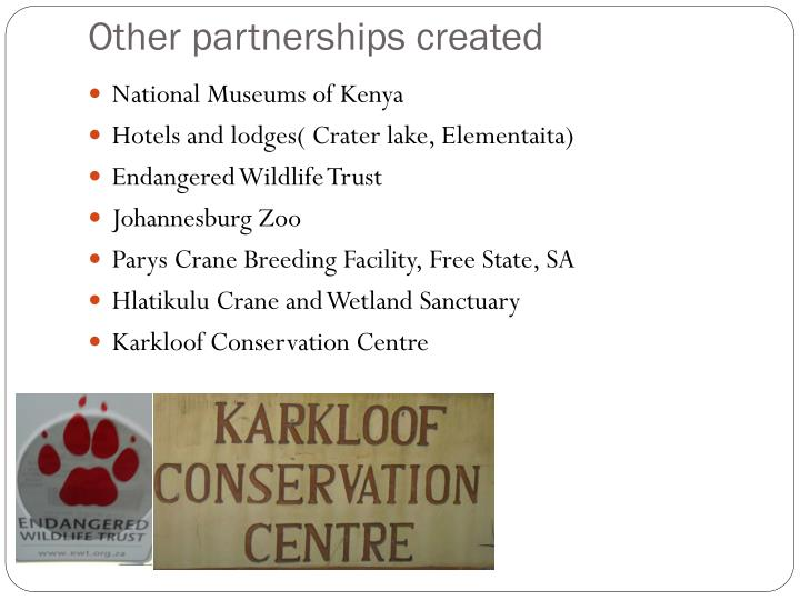 Other partnerships created
