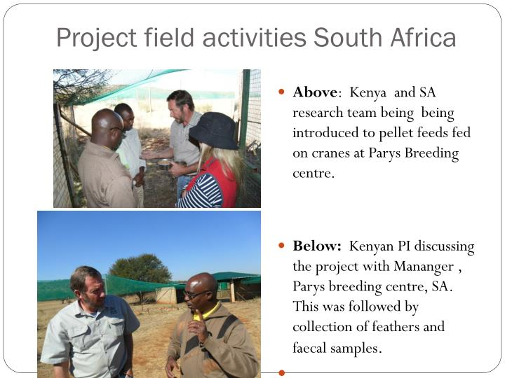 Project field activities South Africa