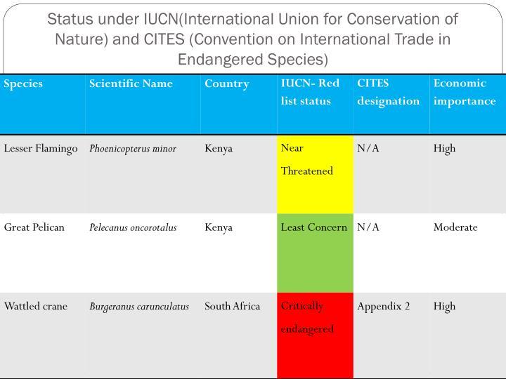 Status under IUCN(