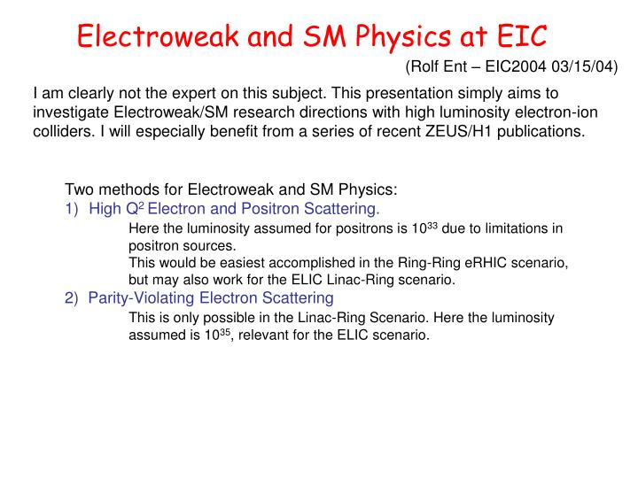 Electroweak and SM Physics at EIC
