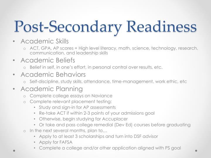 Post-Secondary Readiness