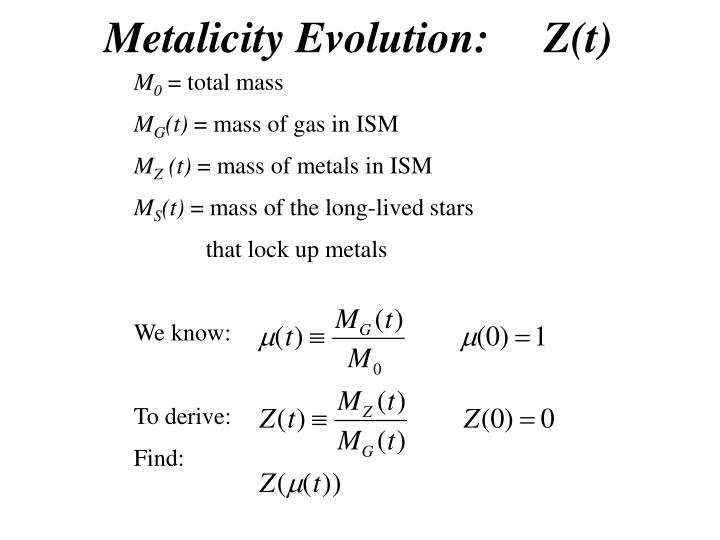 Metalicity Evolution:     Z(t)