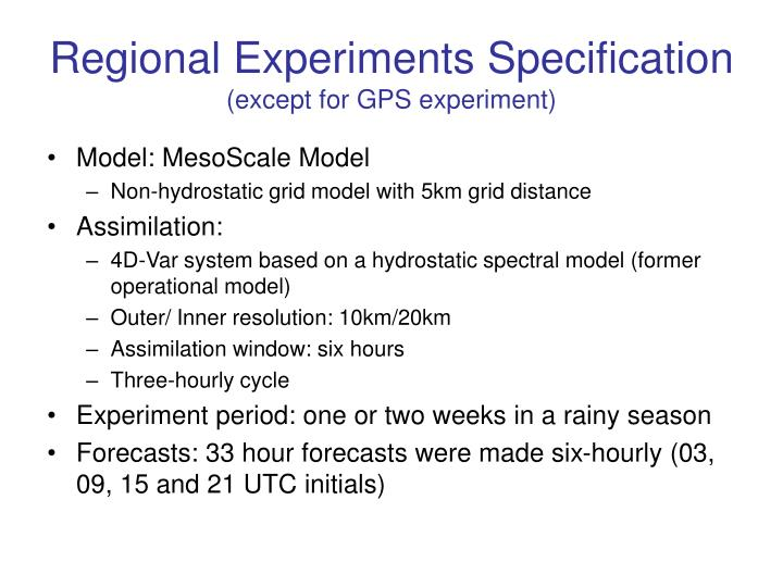 Regional Experiments Specification