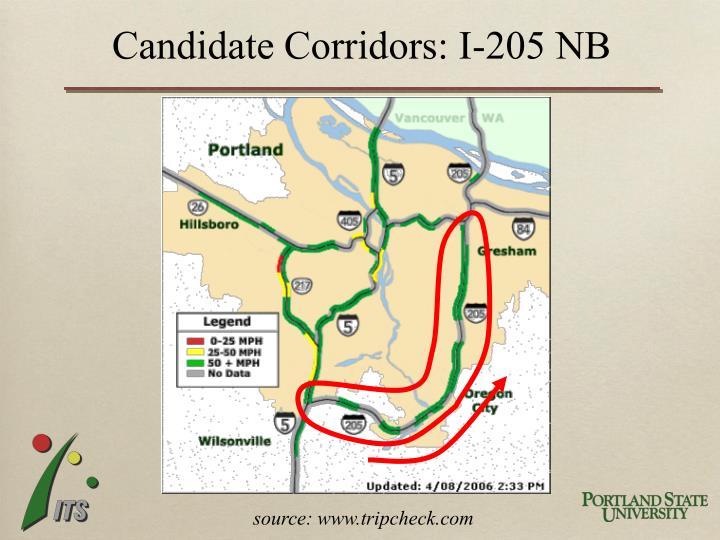 Candidate Corridors: I-205 NB