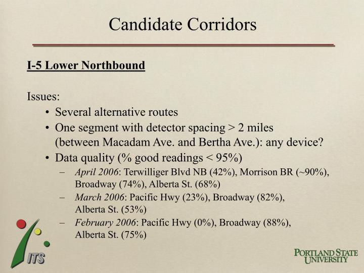 Candidate Corridors