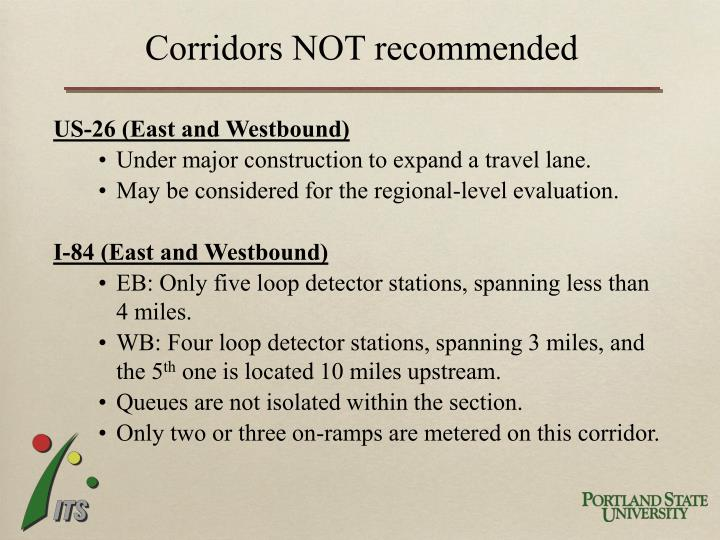 Corridors NOT recommended