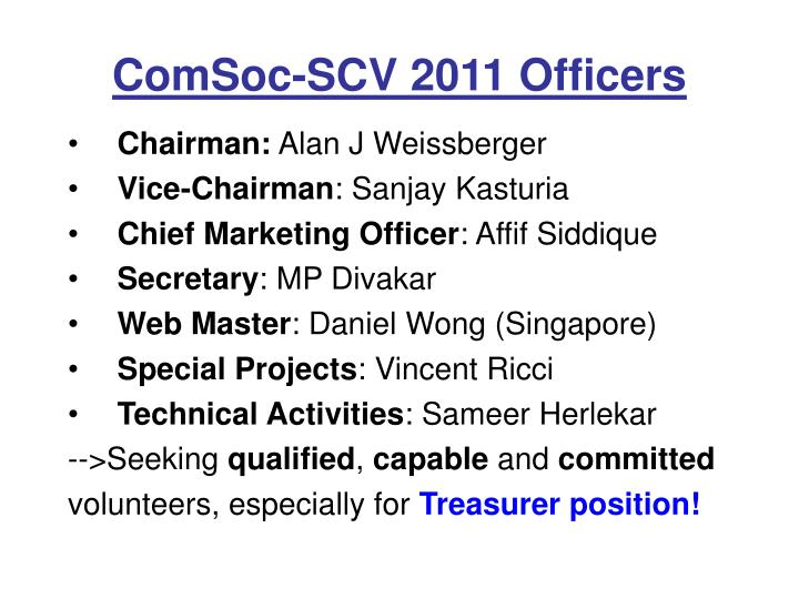 ComSoc-SCV 2011 Officers