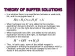 theory of buffer solutions