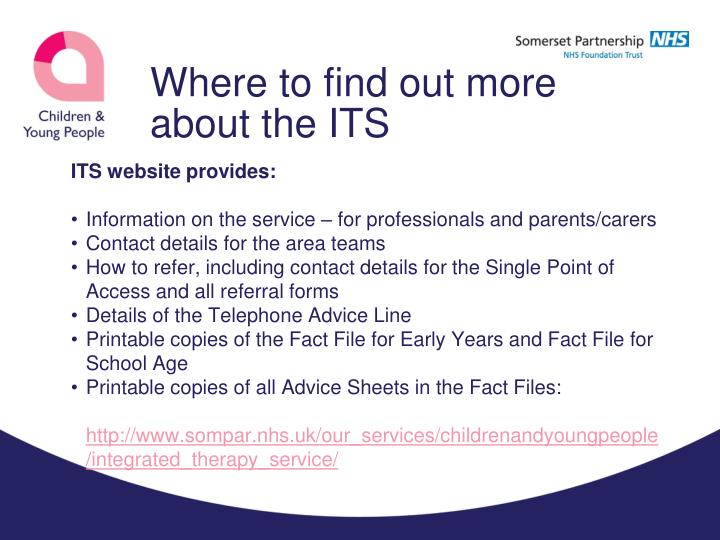 Where to find out more about the ITS