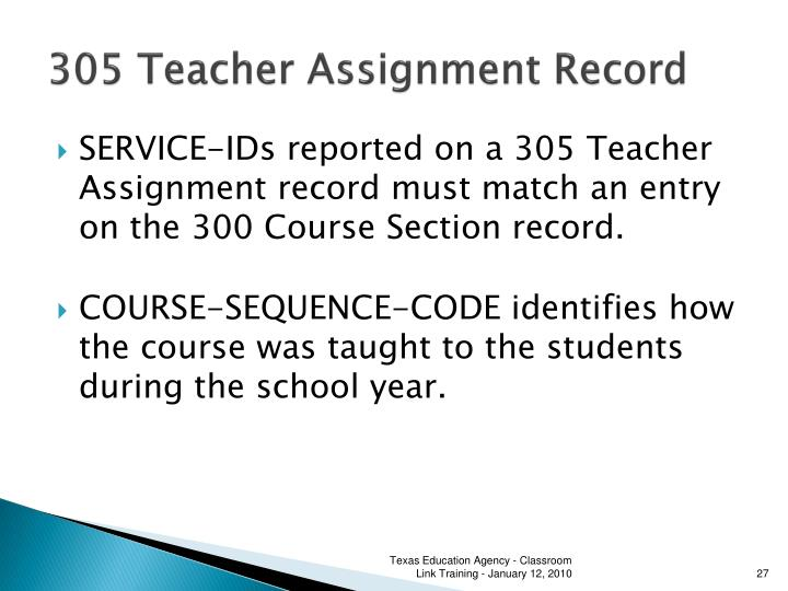 305 Teacher Assignment Record