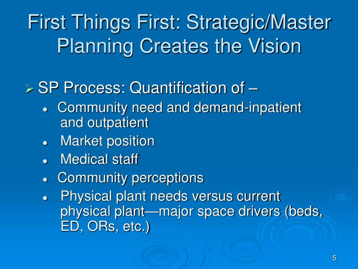 First Things First: Strategic/Master Planning Creates the Vision