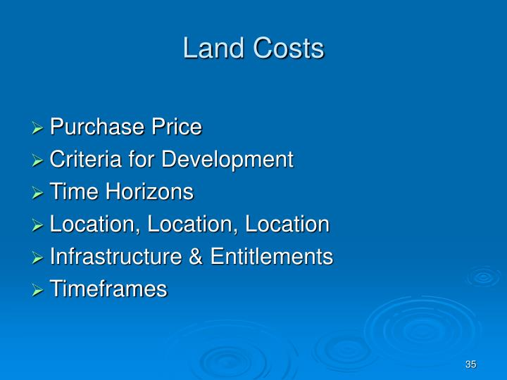 Land Costs